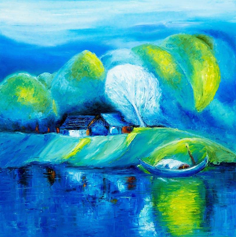 Jezioro i łódź ilustracji