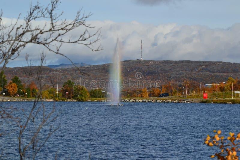 Jezioro i fontanna obraz stock