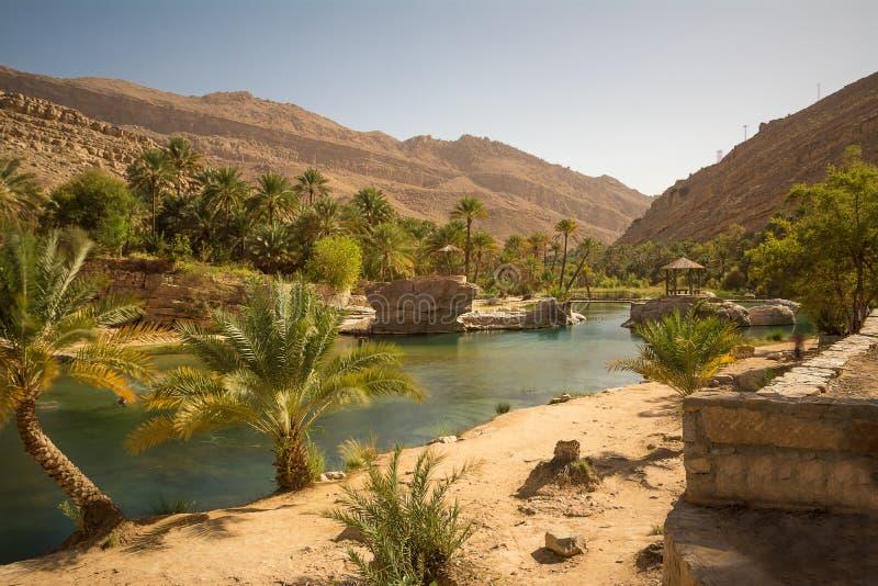 Jezioro i oaza z drzewko palmowe wadim Bania Khalid w Omani pustyni obraz stock