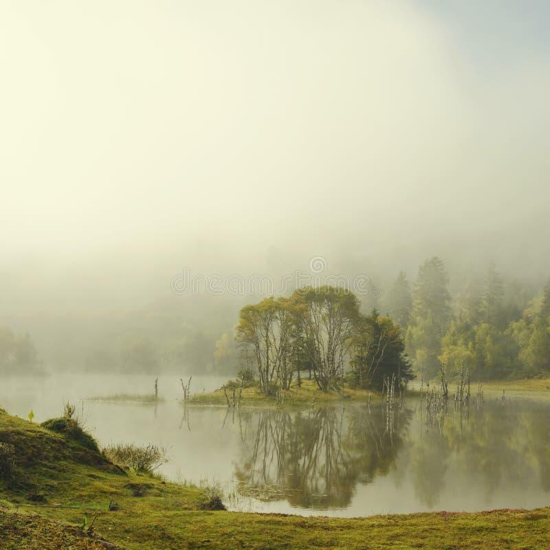 Jezioro krajobraz w mgle obraz stock