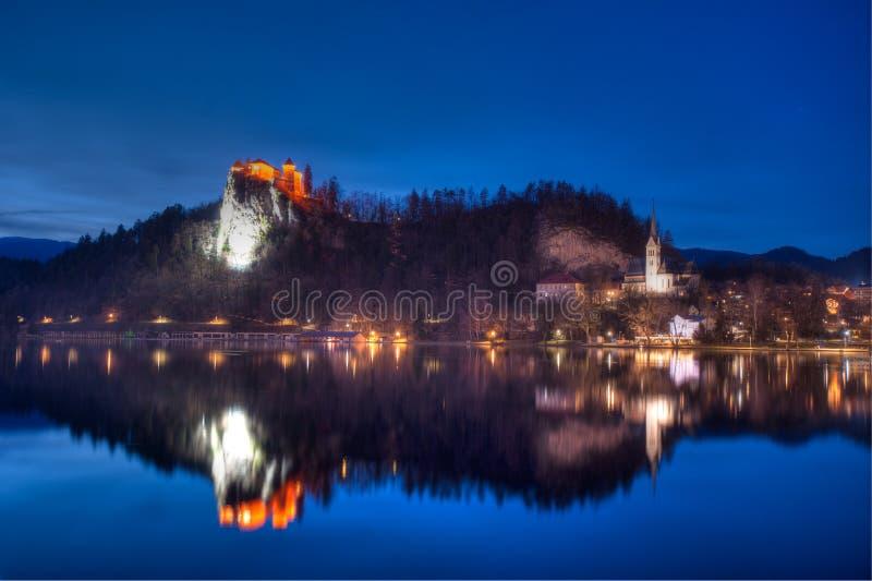 Jezioro Krwawiący przy nocą zdjęcie stock