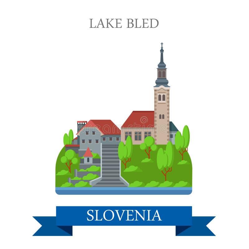 Jezioro Krwawił Slovenia Europa przyciągania widoku płaskiego wektorowego punkt zwrotnego royalty ilustracja