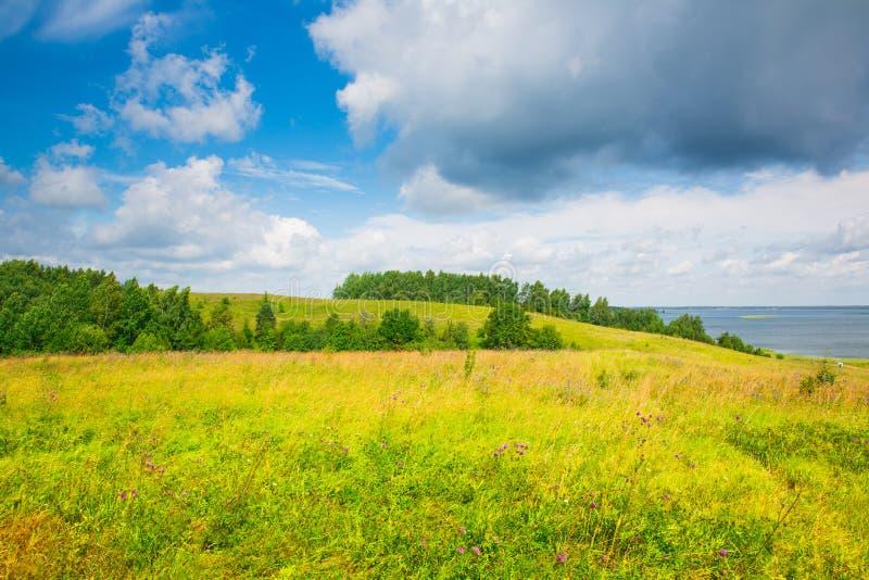 Jezioro, las, pole, duże chmury obraz stock