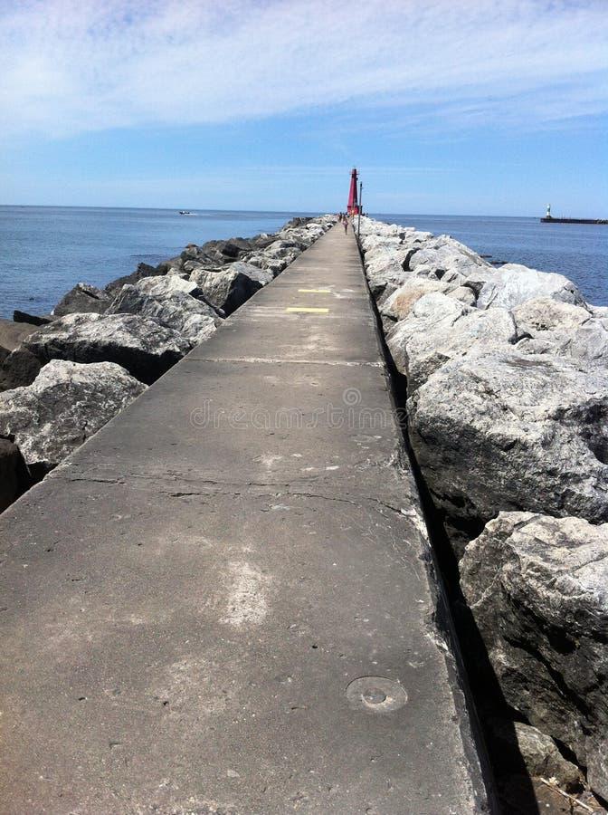 Jezioro Michigan mola spacer obraz royalty free