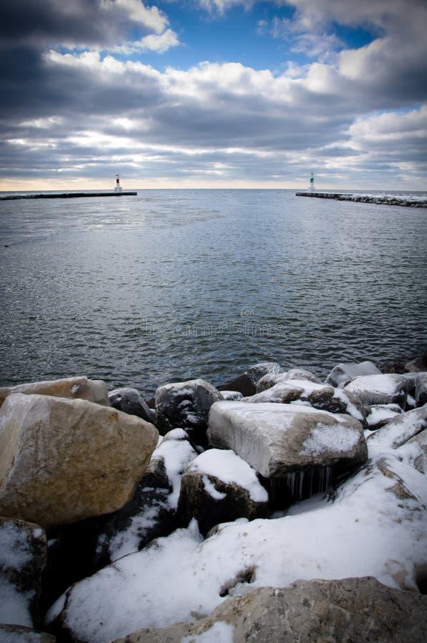 jezioro michigan zima zdjęcie royalty free