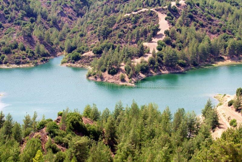 Jezioro na Troodos halnym systemu, Cypr obrazy royalty free