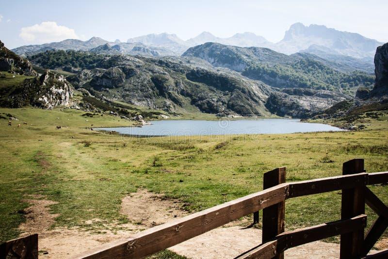 Jezioro przed g?rami zdjęcie royalty free