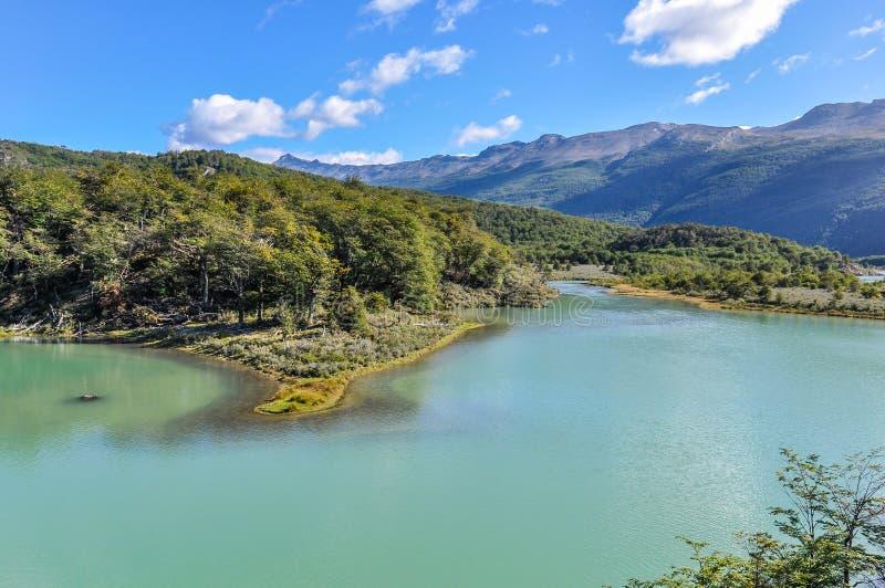 Jezioro, Tierra Del Fuego park narodowy, Ushuaia, Argentyna zdjęcie stock