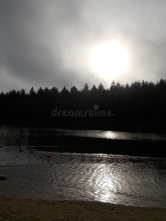 Jezioro w świetle słonecznym zdjęcia royalty free
