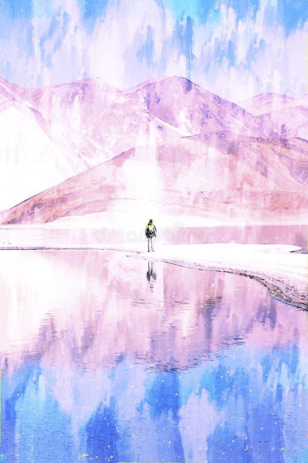 Jezioro w dolinie z górami, niebieskim niebem i chmurami w tle, góry Himalaya w Indiach ilustracja wektor