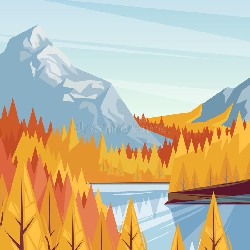 Jezioro w halnej dolinie, wektorowa spadek ilustracja Jesieni krajobrazowy tło Plenerowy podróży pojęcie ilustracji