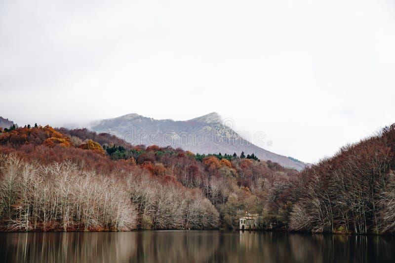 Jezioro w jesień lasu krajobrazie zdjęcie royalty free