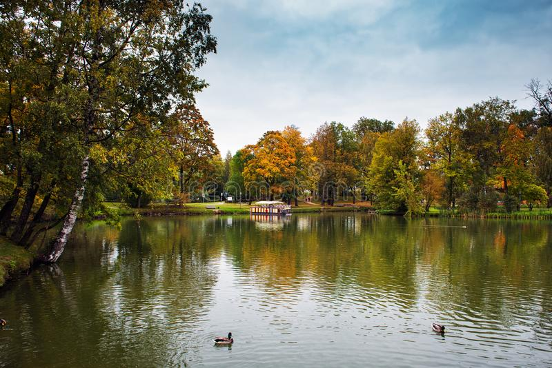 Jezioro w jesień parku blisko Cesis miasteczka, Latvia zdjęcie stock