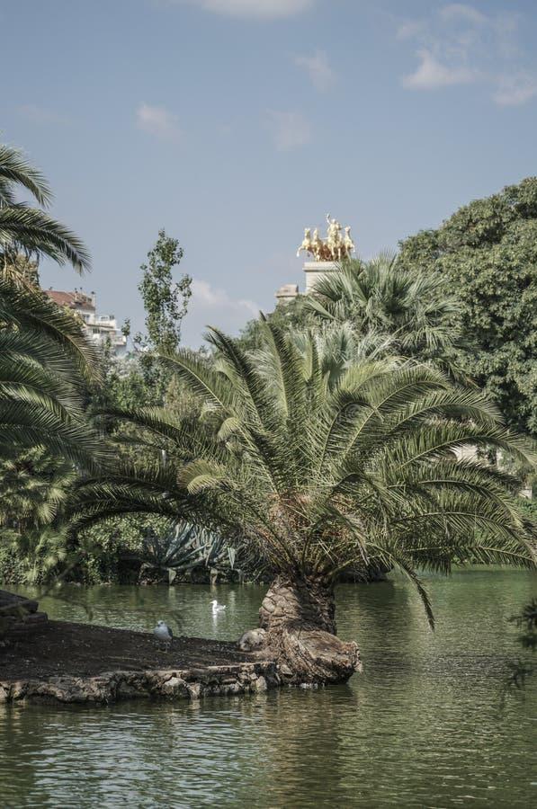 Jezioro w Parkowym De Los angeles Ciutadella w Barcelona, Hiszpania zdjęcia royalty free