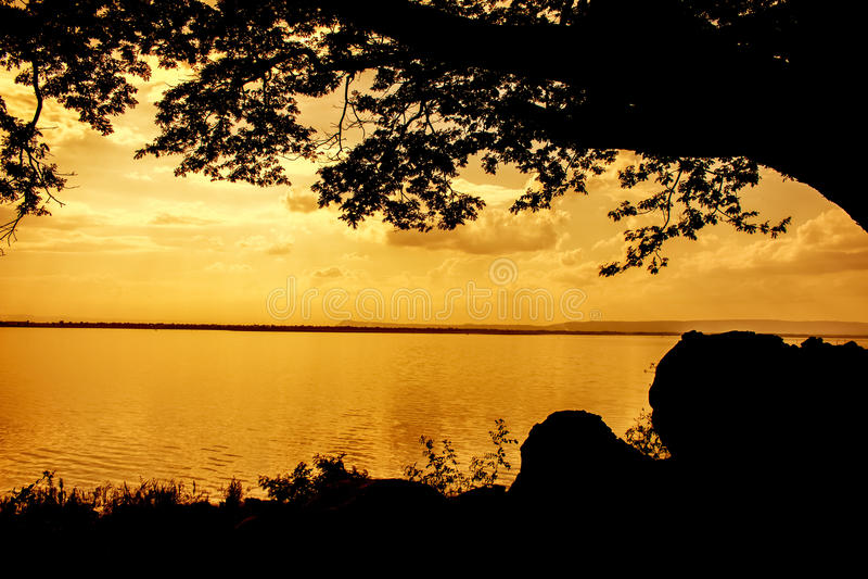Jezioro w słońce przerwach przez wieczór fotografia royalty free