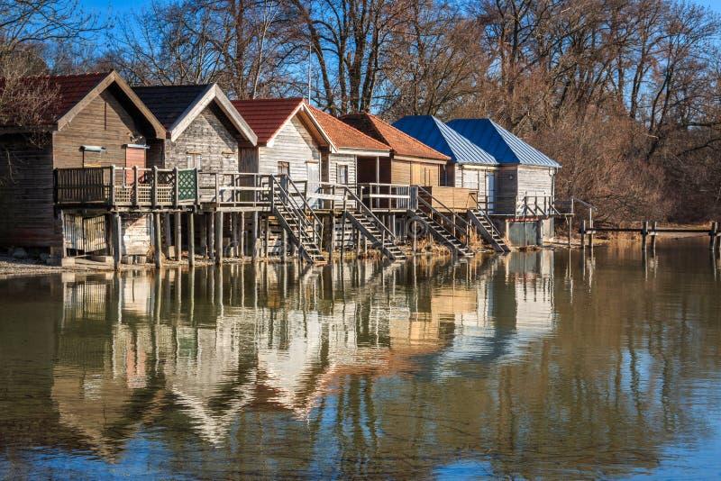 Jezioro w Stegen am Ammersee w Bawarii, Niemcy zdjęcia stock