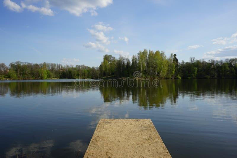 Jezioro z drzewami w wieczór zmierzchu obrazy royalty free