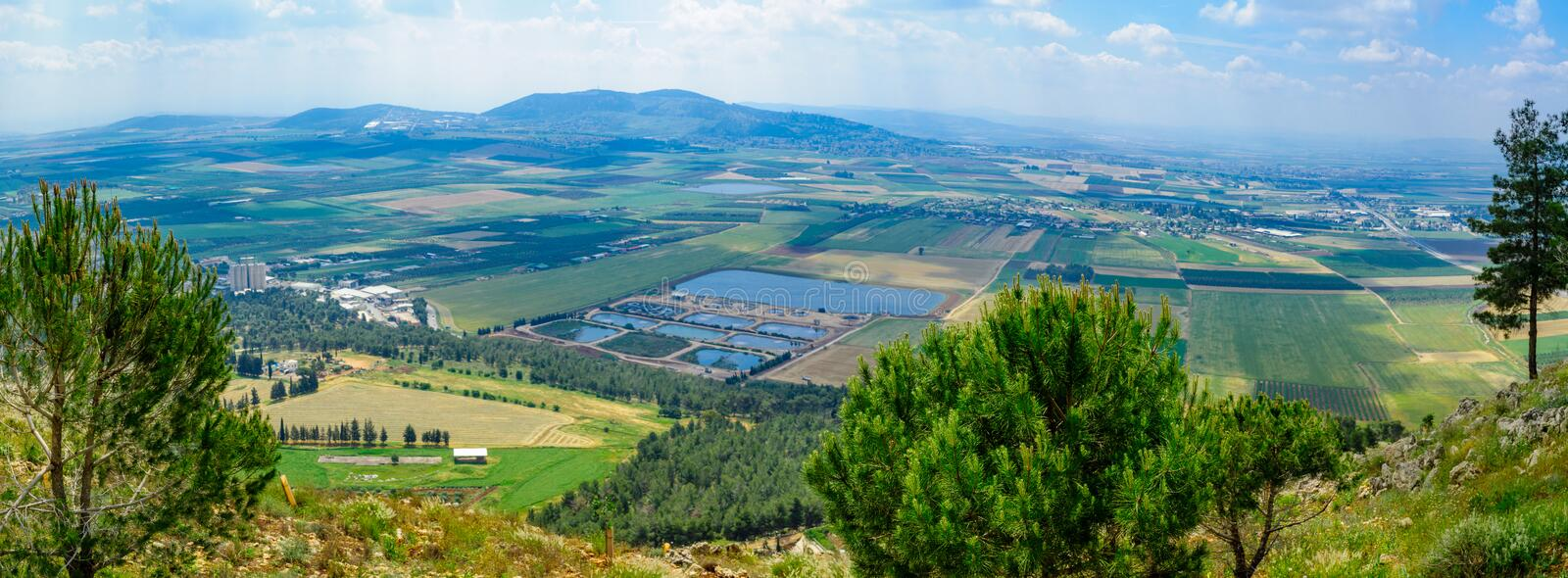 Jezreel Valley landscape, viewed from Mount Precipice stock image