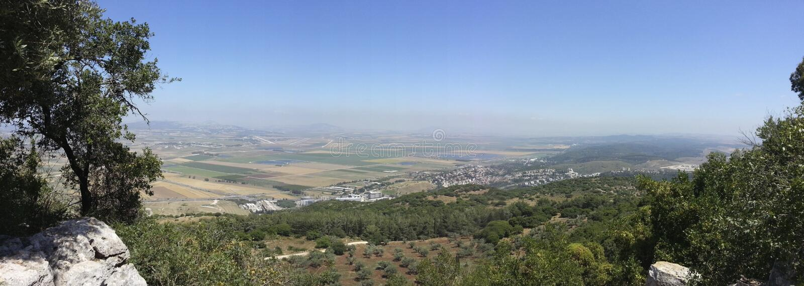 The Jezreel Valley. This view of the Jezreel Valley a.k.a. The Valley of Megiddo, a.k.a. The Valley of Armageddon was taken from the summit of Mt. Carmel near stock images
