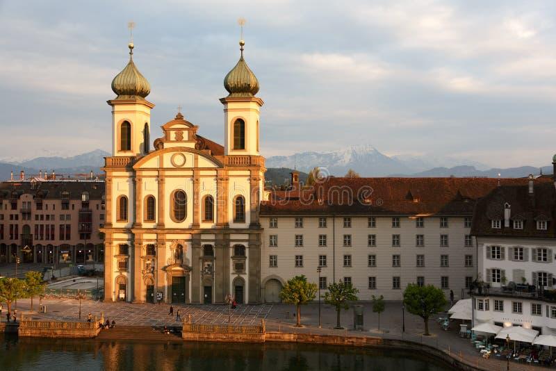 Jezuïetkerk in Luzerne royalty-vrije stock fotografie