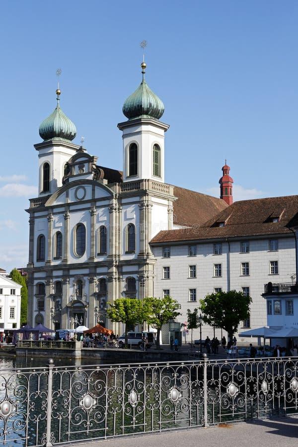 Jezuïetkerk in Luzerne royalty-vrije stock foto