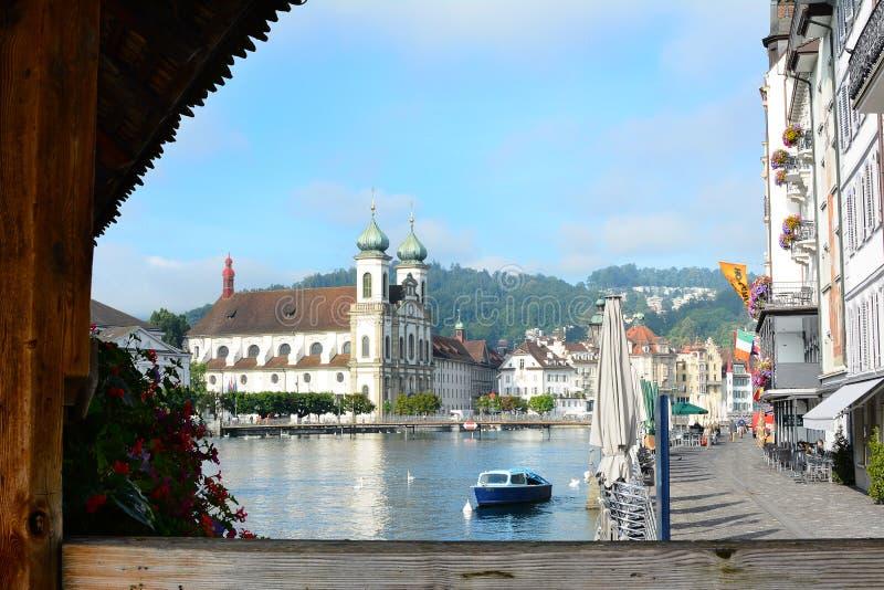 Jezuïetkerk in Luzerne, Zwitserland stock fotografie
