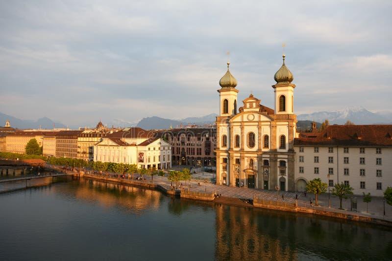 Jezuïetkerk in Luzerne in Zwitserland royalty-vrije stock foto