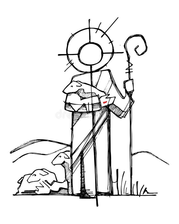 Jezus Chrystus Dobra baca royalty ilustracja