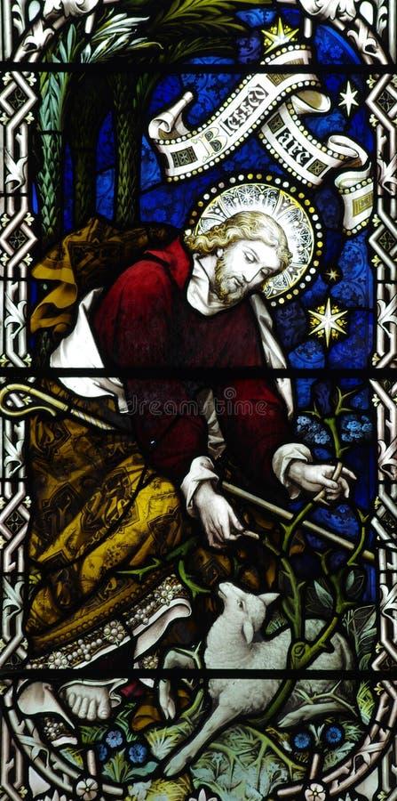 Jezus Chrystus dobra baca w witrażu obraz royalty free