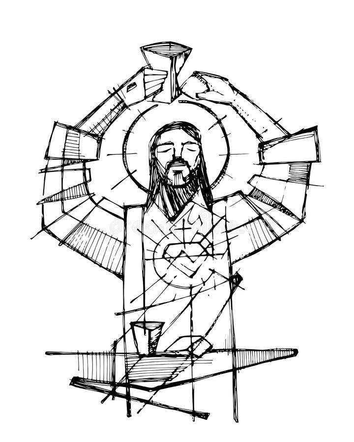 Jezus Chrystus i eucharystii symbole ilustracyjni ilustracja wektor