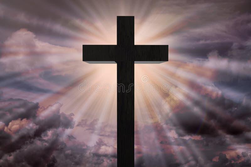 Jezus Chrystus krzyż na dramatycznym niebie Niebiański pojęcie ilustracja wektor