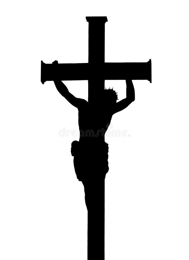 Jezus Chrystus krzyżowania sylwetka zdjęcie royalty free