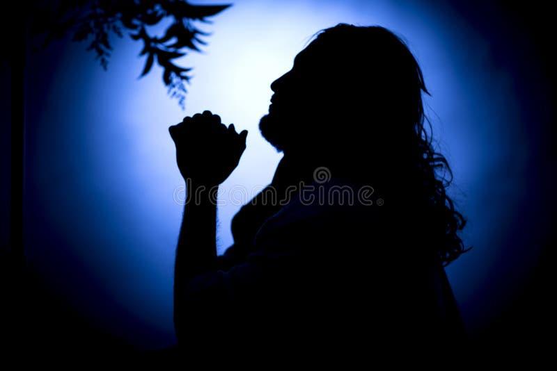 Jezus Chrystus modlenie przy nocą obraz stock