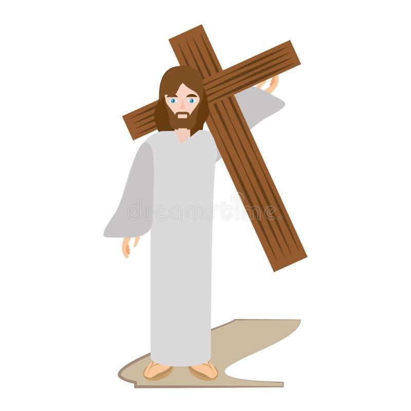 jezus chrystus niesie krzyż przez crucis ilustracji