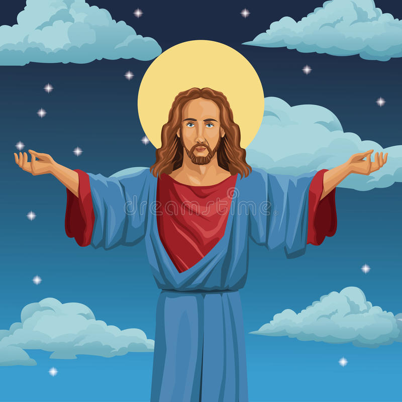 jezus chrystus nocy religijny błogosławiony tło royalty ilustracja