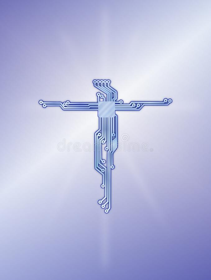 Jezus Chrystus przecinającego obwodu diagrama sztandaru błękitny tło ilustracja wektor