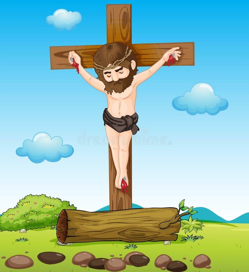 Jezus Chrystus przy krzyżem ilustracji