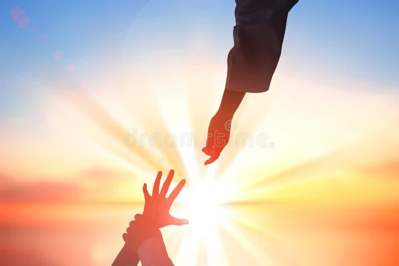 Jezus Chrystus ratuje ludzkie ręki zdjęcia stock