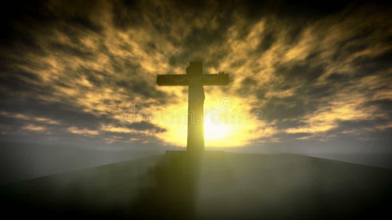 Jezus Chrystus ukrzyżowany na pięknym wschodu słońca materiale filmowym ilustracji