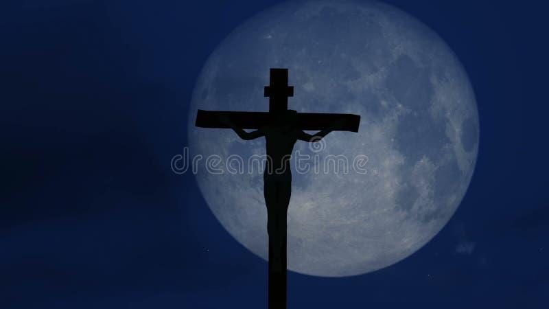 Jezus Chrystus ukrzyżowany przy noc materiałem filmowym zdjęcie wideo