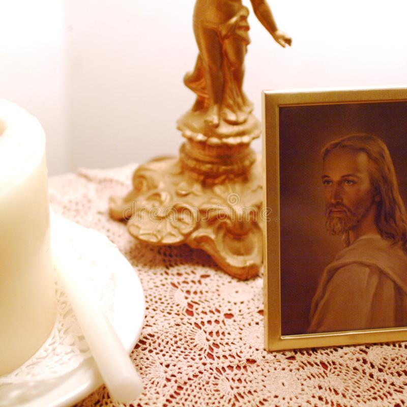 Jezus Chrystus wizerunek i świeczka fotografia royalty free