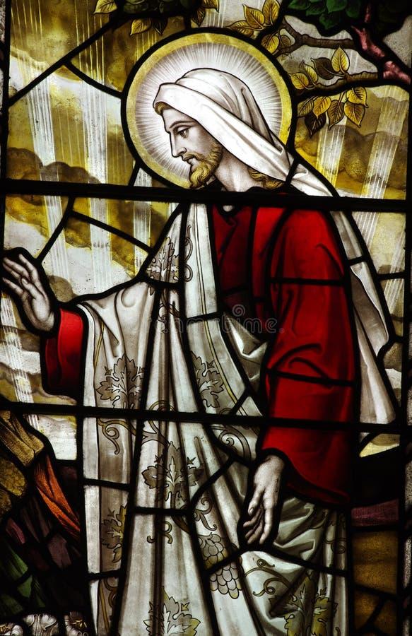 Jezus Chrystus (wzrastający) w witrażu obraz stock