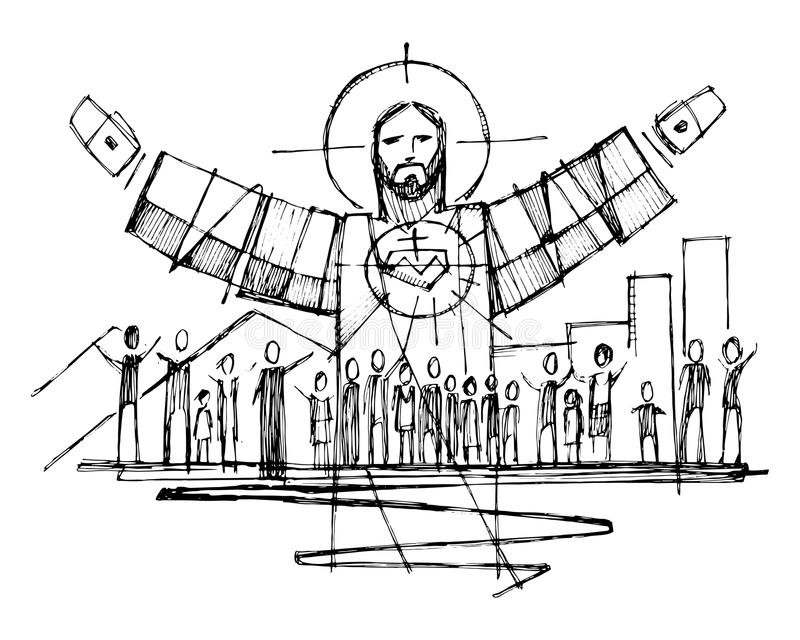 Jezus Chrystus z otwartymi rękami i ludźmi ilustracyjnymi i royalty ilustracja