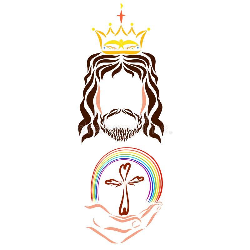 Jezus daje ludziom salwowaniu, obietnicie, chrystianizmowi krzyżowi i tęczy, ilustracja wektor
