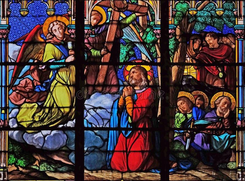 Jezus i jego ucznie na g?rze oliwki zdjęcie royalty free