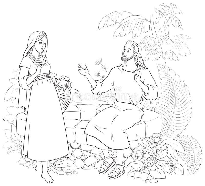 Jezus i Samarytańska kobieta przy Well ilustracji