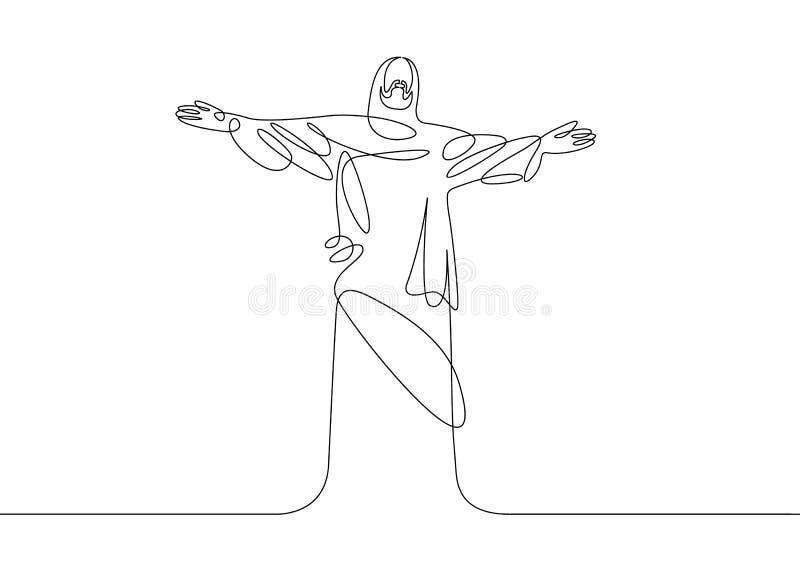 Jezus jeden linia royalty ilustracja
