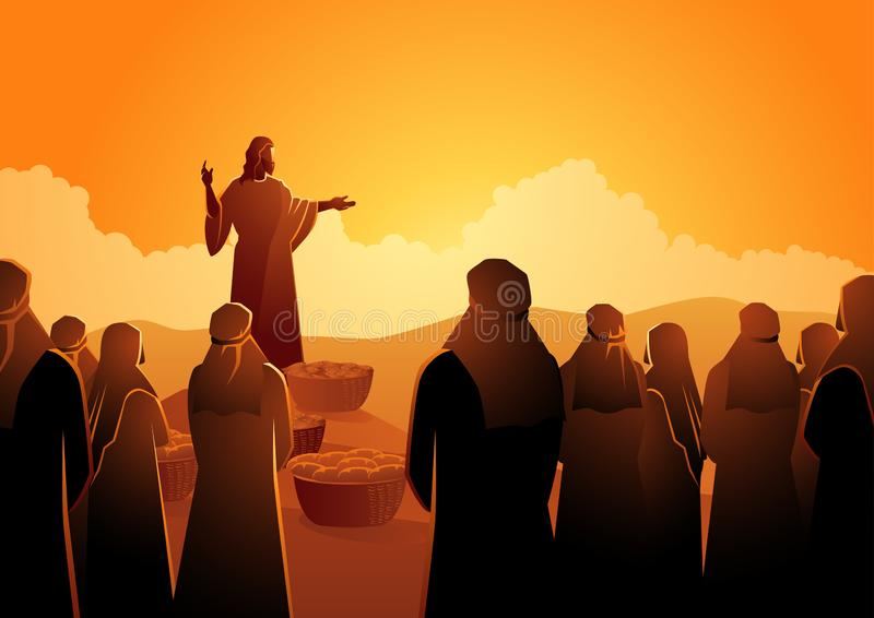 Jezus karmi pięć tysięcy royalty ilustracja