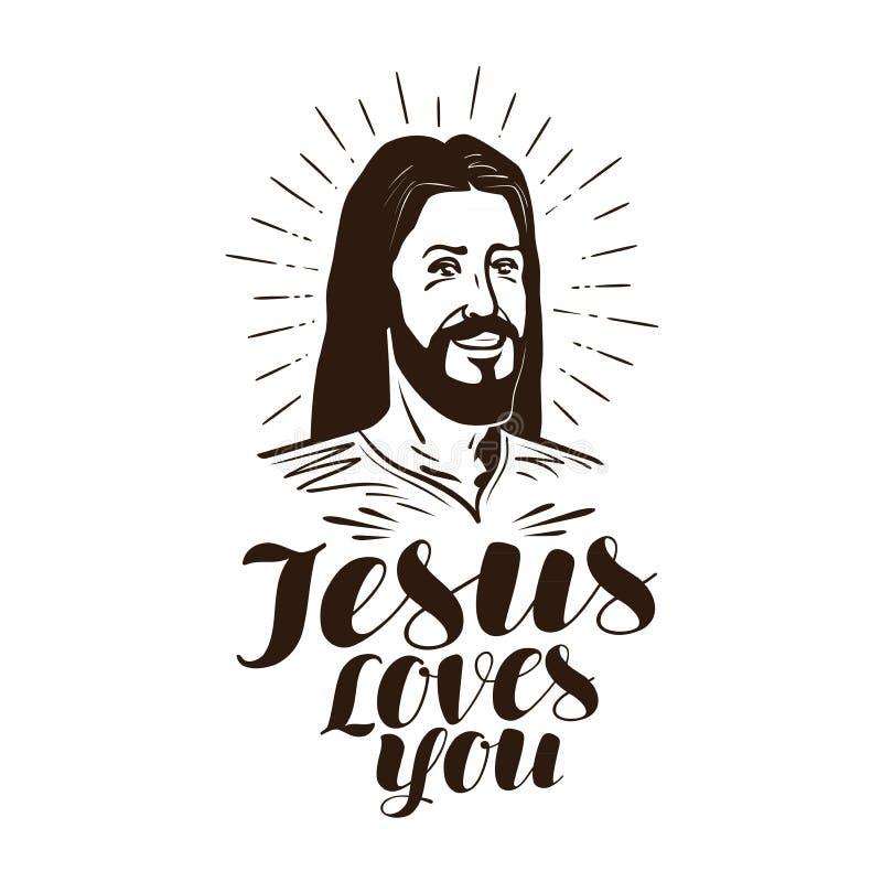 Jezus kocha ciebie, piszący list książkowa pojęcia krzyża religia również zwrócić corel ilustracji wektora ilustracja wektor