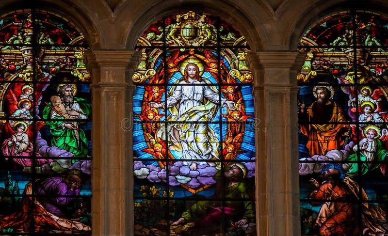 Jezus, Mojżesz i Saint Paul, - witraż fotografia stock